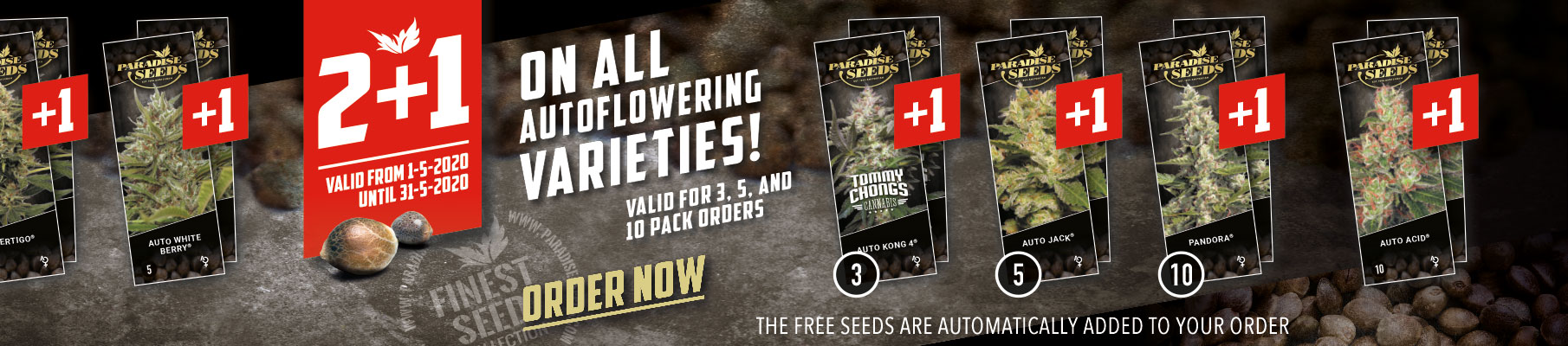 May Promo: 2 + 1 Autoflower | Paradise-Seeds